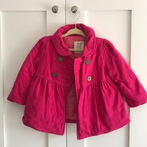 Button up pink p-coat for little girls. So cute.